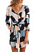 Deep V Neck  Belt  Abstract Print  Half Sleeve Casual Dresses