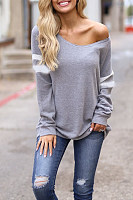 One Shoulder  Plain Casual  Sweatshirts