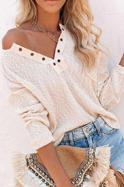 Decorative Buttons Solid Knit Top