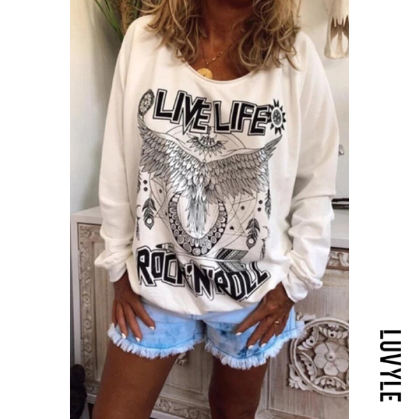 White Loose round neck printed hoodie for women White Loose round neck printed hoodie for women