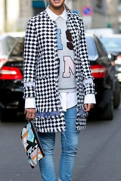 Moda áspera Selvedge xadrez Outwear