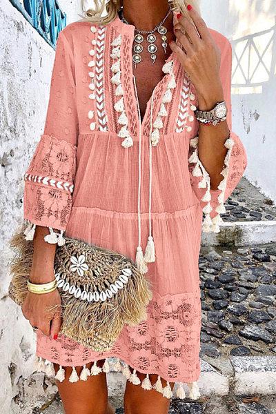 V-Neck Lace Fringe Casual Vacation Mini Dress