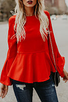 Round Neck Long Flare Sleeve Plain Blouses
