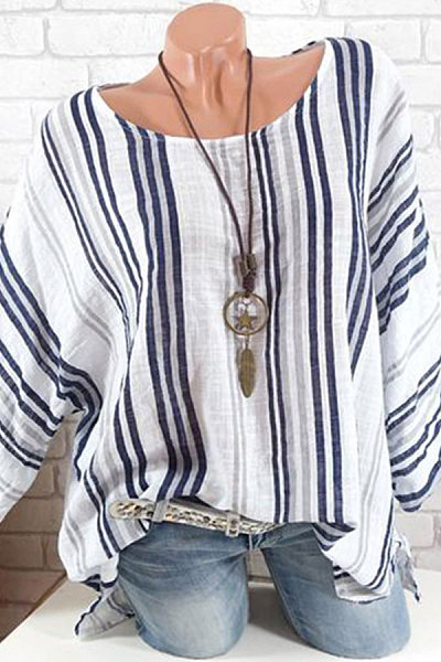 Round Neck  Loose Fitting  Stripes Blouse