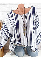 Autumn Spring  Cotton  Women  Round Neck  Striped  Long Sleeve Blouses