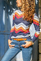 Crew Neck  Color Block Striped T-Shirts