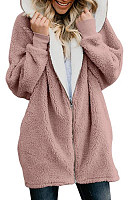 Hooded Plain Long Sleeve Casual Outerwear