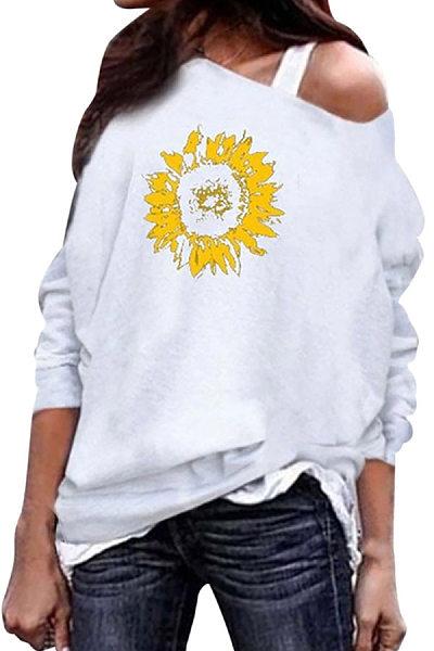 Casual Printed Colour Long Sleeve Loose Sweatshirt