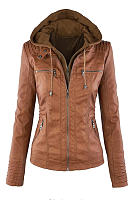 Khaki Fashion Zipped Jacket With Removable Hood