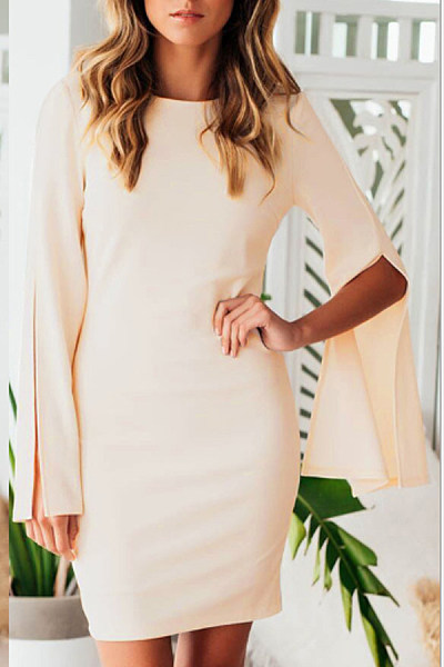 Suits Bodycon Plain Sleeve Neck Dresses Bell Crew boutique bra jones