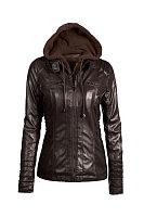 Fold Over Collar  Zipper  Detachable Hood  Patchwork Jackets
