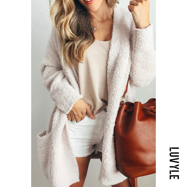 Casual solid color plush long coat - from $23.00