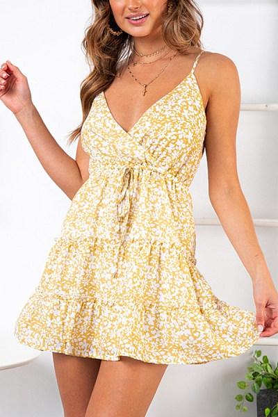 Spaghetti Strap  Backless  Printed  Sleeveless Skater Dresses