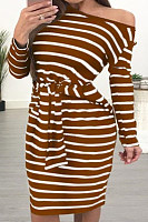 Open Shoulder  Striped  Long Sleeve Bodycon Dresses