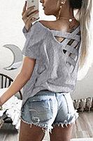 Backless Cross Straps  Plain T-Shirts
