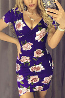 Deep V Neck  Floral Printed  Short Sleeve Bodycon Dresses