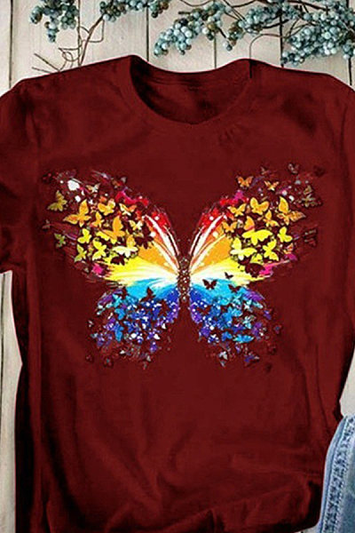 Round Neck Butterfly Short Sleeve T-shirt