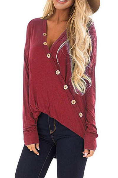 Solid Color V-Neck Button Long Sleeve T-Shirt