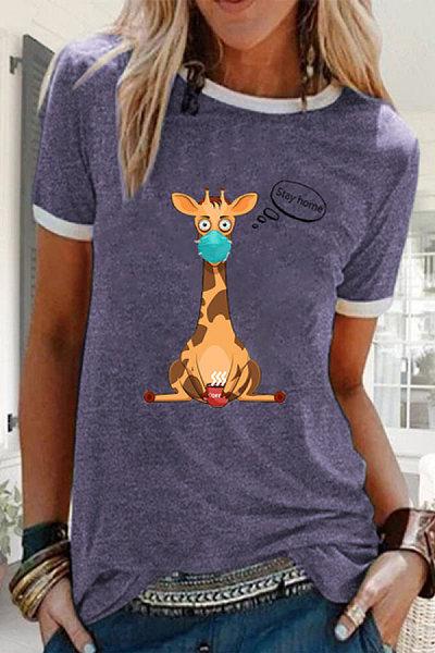 Women's Casual Cartoon Giraffe Print O-Neck Shirts