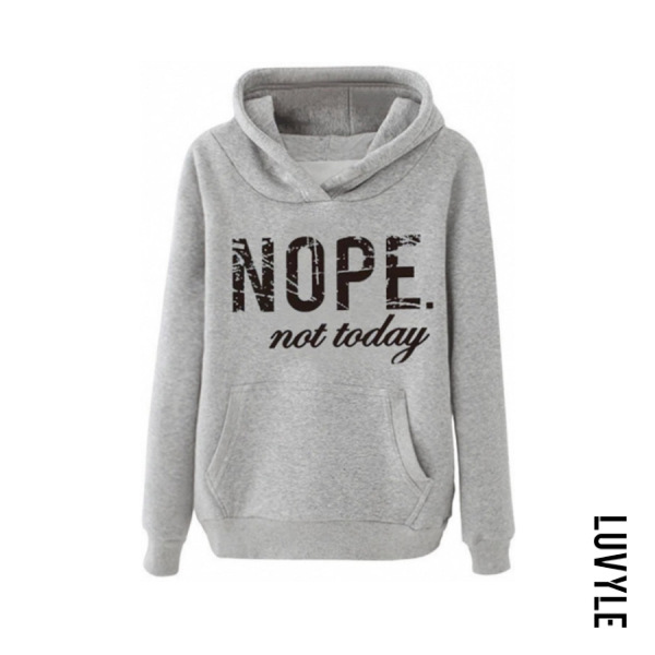 Gray Casual Letters Long Sleeve Hoodies Gray Casual Letters Long Sleeve Hoodies