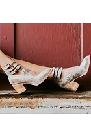 Chunky  High Heeled  Ankle Strap  Round Toe  Date Outdoor Pumps
