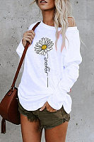 Casual Daisy Print Long Sleeve T-shirt