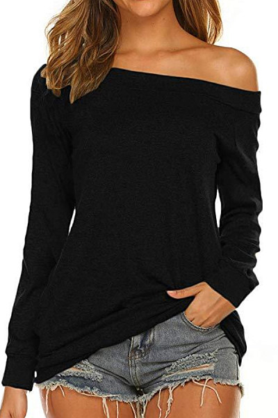 Shoulder Collar Long Sleeve Plain T-Shirt