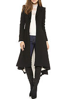 Fold Over Collar  Asymmetric Hem Decorative Buttons Outerwear