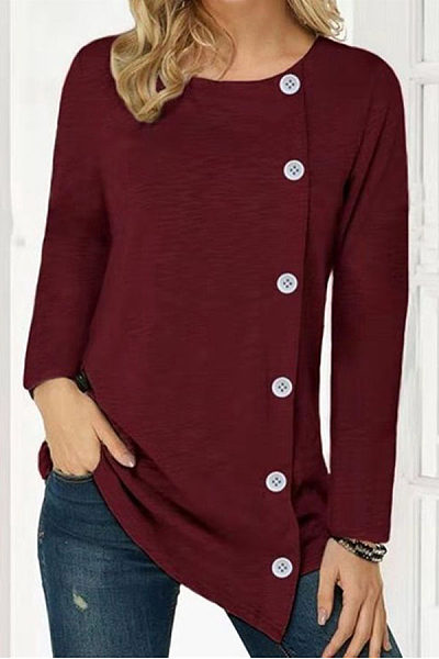 Round Neck Long Sleeve Decorative Buttons T-shirt