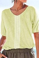 Fashion Round Neck Sleeve Retro Positioning Flower T-Shirt
