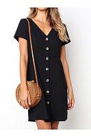 Daily Plain  V Collar Loose Shift Dress