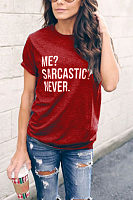 Round Neck Letters Printed Short Sleeve T-Shirts