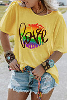 Love Printed Round Neck T-shirt