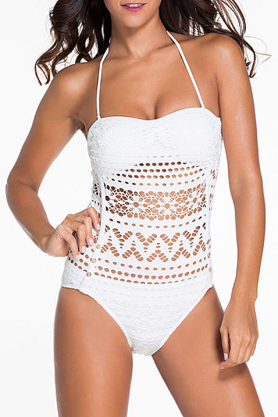 Halter Hollow Out Solid One Piece