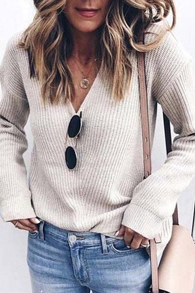 Fashion Pure Colour V Neck Long Sleeve Sweater