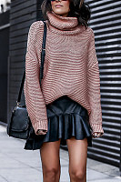 High Collar Plain Sweater