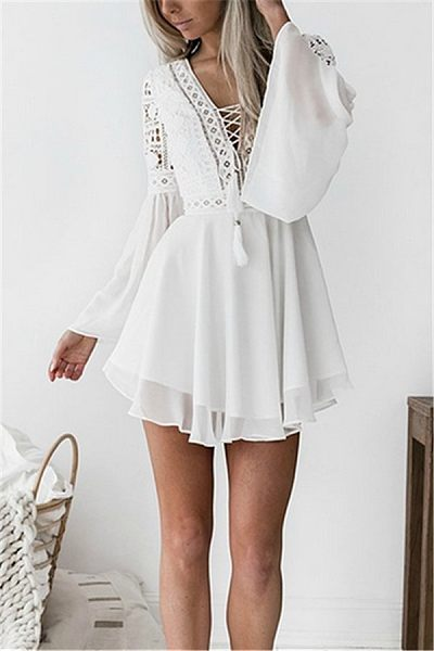 Casual Sexy V Neck   Lace Hollow Out Mini Dresses