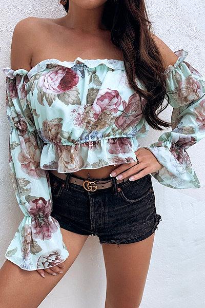 Sexy Word Collar Printed Chiffon Shirt