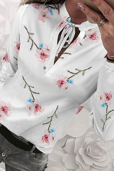 Lady Sweet Casual Long Sleeve Floral Blouse