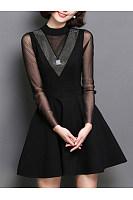 Band Collar  Patchwork See-Through  Shimmering Powder  Plain  Polyester Skater Dress