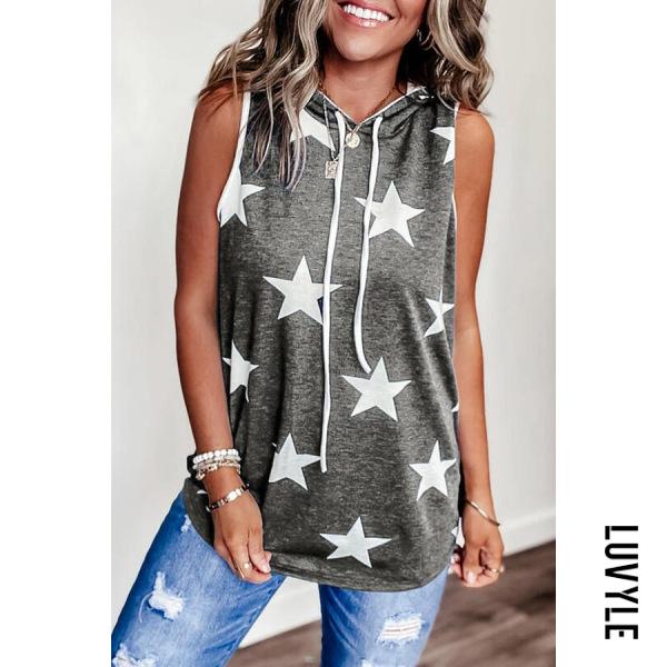 Gray Star Hoodied Sleeveless T-shirt Gray Star Hoodied Sleeveless T-shirt