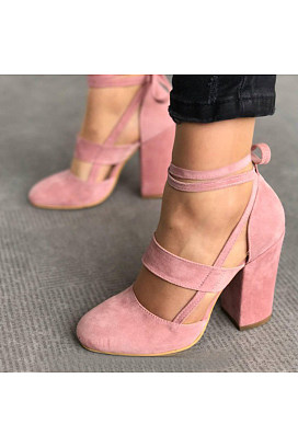 7e8512a3a092 plain chunky high heeled velvet ankle strap round toe date event pumps