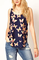 Round Neck Butterfly Printed  Vests