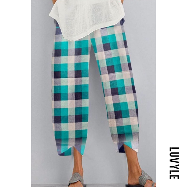 Coloring Plaid Casual Pants