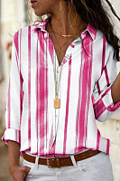 A Lapel Long Sleeve Striped Casual Blouse
