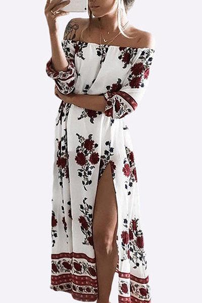 Off Shoulder Slit Floral Half Sleeve Maxi Dresses