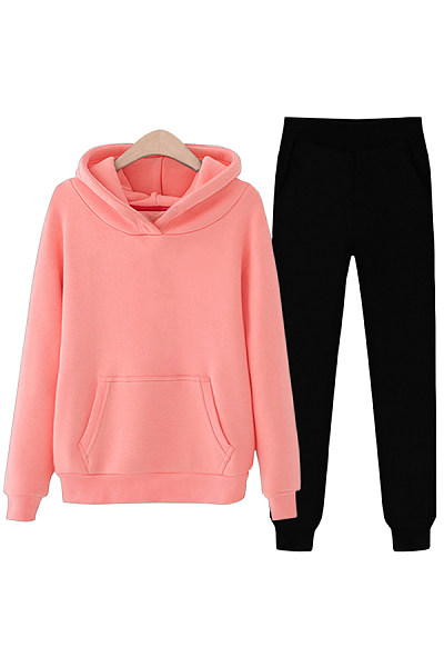 Plain Casual Hoody Two-piece Outfits