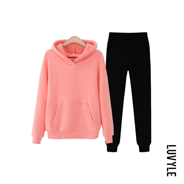 Watermelon Red Plain Casual Hoody Two-piece Outfits Watermelon Red Plain Casual Hoody Two-piece Outfits