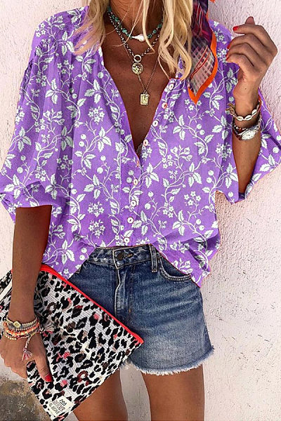 Floral Long Sleeve Single Breasted Casual Blouse