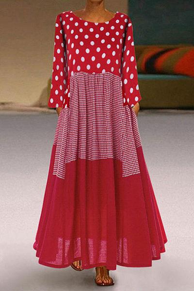 Round Neck Polka Dot Splice Maxi Dress